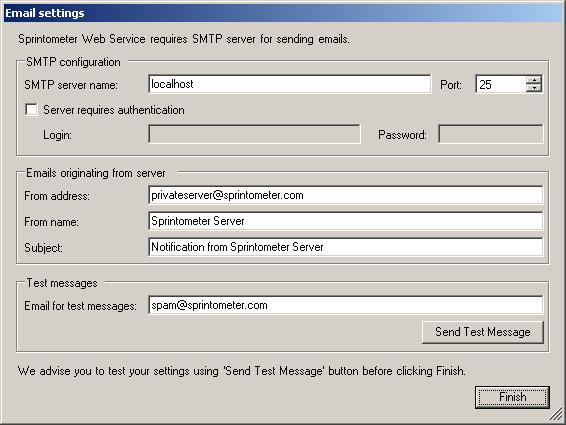 Email Configuration Screen